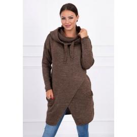 Ženski pleten pulover s kapuco in žepi 2019-6, cappuccino