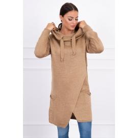 Ženski pleten pulover s kapuco in žepi 2019-6, karamel