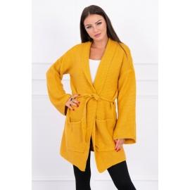Ženska pletena jopica z žepi 2019-8N, gorčično rumena