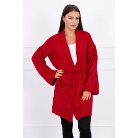 Ženska pletena jopica z žepi 2019-8N, rdeča