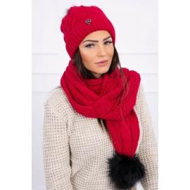 Ženska kapa in šal K121, rdeča