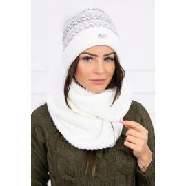 Ženska kapa in šal K123, bela