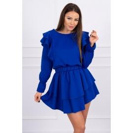 Obleka z volančki 66047, modra