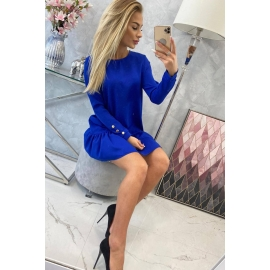 Obleka z volančki 66188, modra