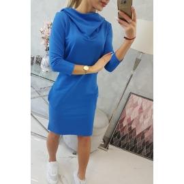 Obleka s kapuco in žepi 8847, modra