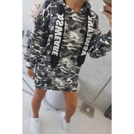 Obleka z vojaškim vzorcem in žepom na hrbtu 9107, črna/siva