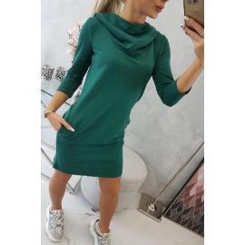 Obleka s kapuco in žepi 8847, zelena