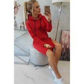 Obleka s kapuco in razporkom 9168, rdeča