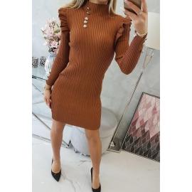 Ženska obleka z okrasnimi gumbi 20600, kamelna