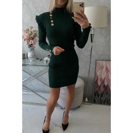 Ženska obleka z okrasnimi gumbi 20600, zelena