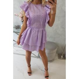 Obleka z elastiko v pasu in volančki 9051, vijolična