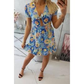 Obleka s cvetličnim vzorcem in V-izrezom 9267, svetlo modra