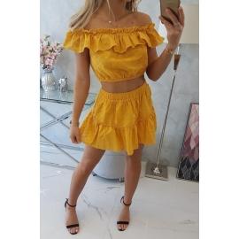 Ženski poletni komplet z odprtimi rameni 9274, gorčično rumena