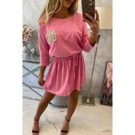 Obleka z bleščečim žepom 9004, svetlo roza