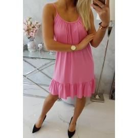 Obleka s tankimi naramnicami 9080, roza
