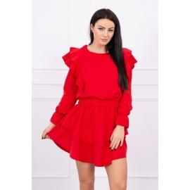 Obleka z volančki 66047, rdeča