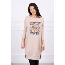 Obleka s potiskom tigra 0076, bež