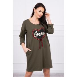 Obleka s potiskom in mašnico 0083, kaki