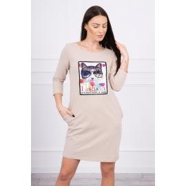 Obleka s 3D grafiko Cat 66815, bež