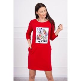 Obleka s 3D grafiko Watch 66822, rdeča