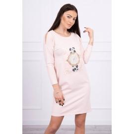 Obleka s 3D grafiko Pearls 66816, puder roza
