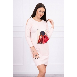 Obleka s potiskom in pikčasto mašnico 66817, puder roza