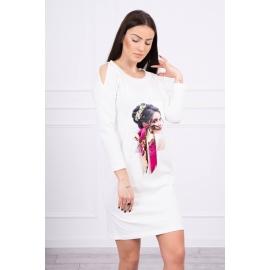 Obleka s potiskom in barvasto mašnico 66826, ekru