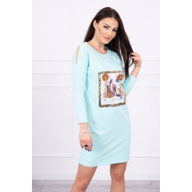 Obleka s potiskom in 3D rožico 66828, mint