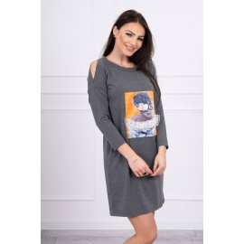 Obleka s 3D grafiko Lace 66829, temno siva