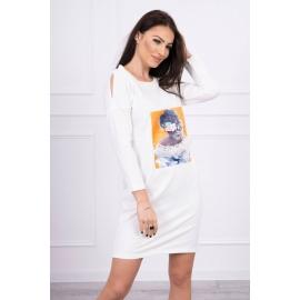 Obleka s 3D grafiko Lace 66829, ekru