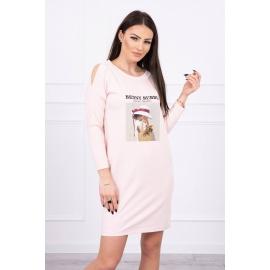 Obleka s 3D grafiko Basket 66858, puder roza