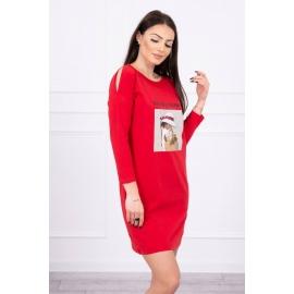 Obleka s 3D grafiko Basket 66858, rdeča