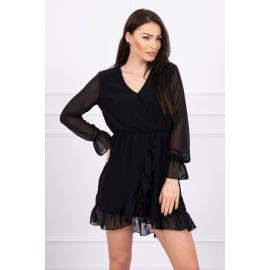 Obleka s prosojnimi rokavi 66718, črna
