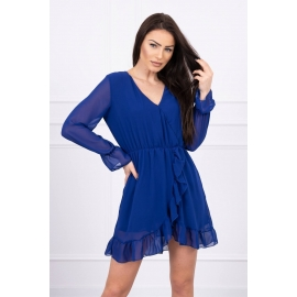 Obleka s prosojnimi rokavi 66718, modra