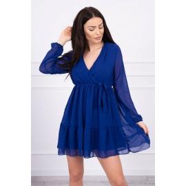 Obleka s prosojnimi rokavi in dekoltejem 9026, modra