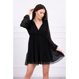 Obleka s prosojnimi rokavi in dekoltejem 9026, črna