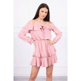 Obleka z volančki in vezavo na izrezu 9044, temno roza