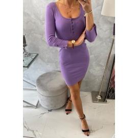 Telirana obleka z gumbi na dekolteju 8972, vijolična