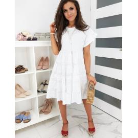 Ohlapna obleka z luknjicami LETICCO EY1201, bela