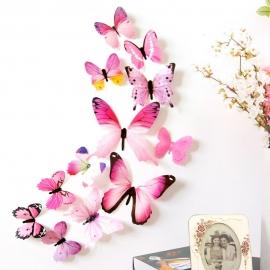 3D metuljčki za dekoracijo doma, roza
