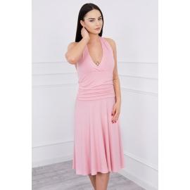 Obleka z globokim dekoltejem 60941, puder roza