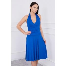Obleka z globokim dekoltejem 60941, modra