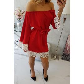 Obleka s čipko in vezavo v pasu 9034, rdeča