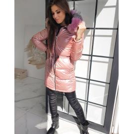 Zimska bunda z barvasto mucko na kapuci MERINGO, svetlo roza