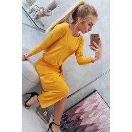 Asimetrična obleka s ¾ rokavi 8923, gorčično rumena
