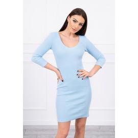 Modna obleka z dekoltejem 8863, svetlo modra