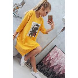 Obleka s printom in širokim dnom 9007, gorčično rumena