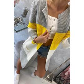 Dolga večbarvna pletena jopica
