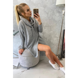 Ženski pleten pulover s kapuco in žepi 2019-6, siv
