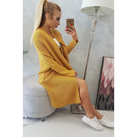 Daljša pletena jopica z netopir rokavi 2019-13, gorčično rumena